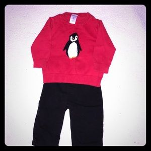 Cute penguin sweater with black pants!